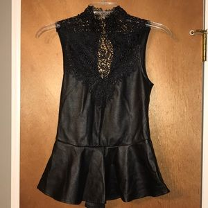 "Forever 21 Lace and ""Leather"" Tank"